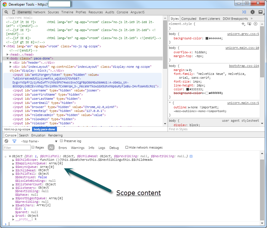 scope in the browser console